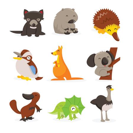 동물: 귀여운 행복 호주 동물의 만화 벡터 일러스트 레이 션 설정 아이콘입니다. 이 세트에 포함 : - 타스 메니아 악마, 웜뱃, 에키드나, 쿠카 부라, 캥거루, 코알라 바, 오리 일러스트