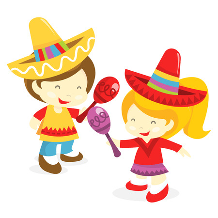 A cartoon vector illustration of happy mexican costume wearing boy and girl. Illustration