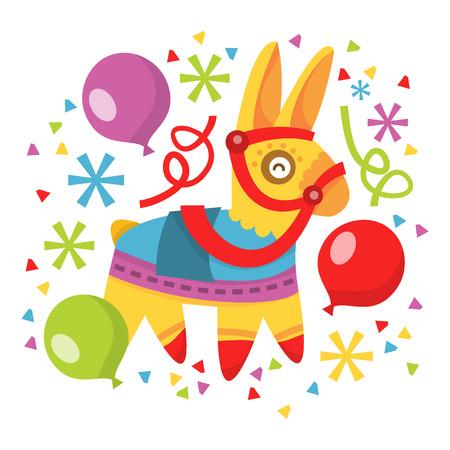 Een vector illustratie van de grillige plezier pinata, ballonnen en confetti.