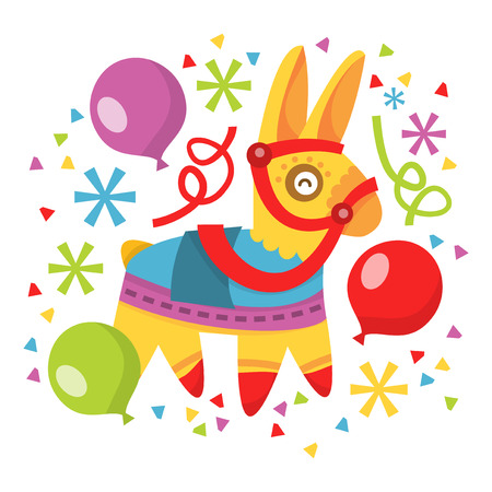 A vector illustration of whimsical fun pinata, balloons and confetti.