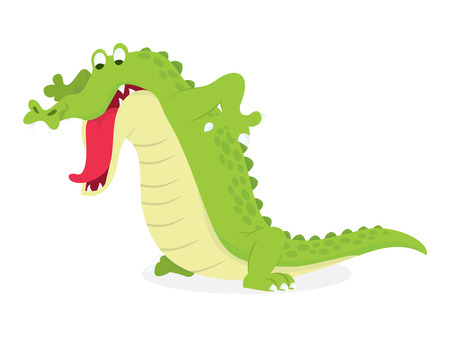 A cartoon vector illustration of a crocodile looking down at something.