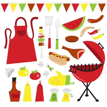 A vector illustration of whimsical fun summer barbecue party clip arts. Included in this set:- red kettle type bbq grill, utensils, kebab, apron, vegetables, bbq sauces, chilli and ketchup, salt and pepper, hot dog, meat and sausages. Vector