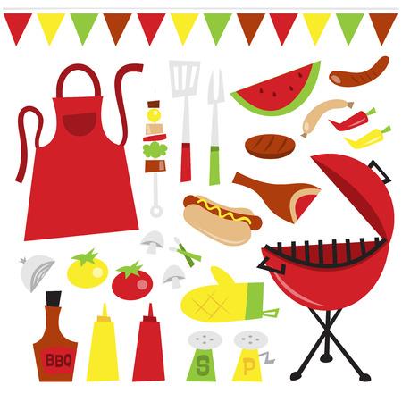 mandil: Una ilustraci�n vectorial de caprichosas divertidas barbacoa de verano de clip partido artes. Incluido en este conjunto: - Tipo de caldera roja parrilla de barbacoa, utensilios, kebab, delantal, verduras, salsas de barbacoa, chile y salsa de tomate, sal y pimienta, perro caliente, carne y embutidos.