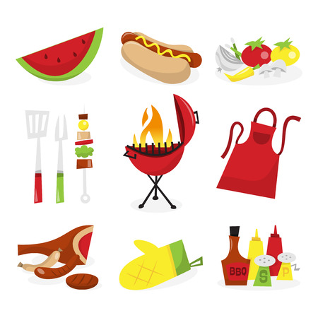 A vector illustration of nine different summer barbecue theme icons. Included in this set:- watermelon, hot dog, vegetables, utensil, kebab, red kettle barbecue grill with flame, apron, raw meat, kitchen glove and condiments.