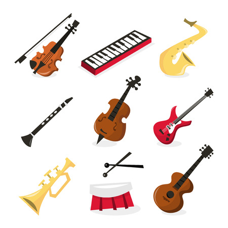 A vector illustration of nine different musical instrument icons. Included in this set:- violin, keyboard, saxophone, clarinet, double bass, electric guitar, trumpet, drum and guitar.