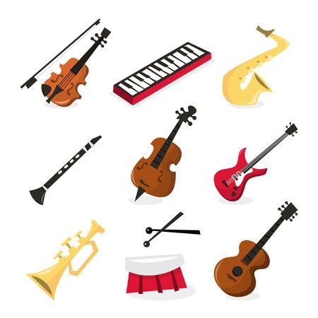 clarinete: Una ilustraci�n vectorial de nueve diferentes iconos de instrumentos musicales. Incluido en este conjunto: - viol�n, teclado, saxof�n, clarinete, contrabajo, guitarra el�ctrica, trompeta, tambor y guitarra. Vectores