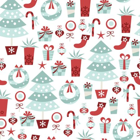 A vector illustration of alpine retro christmas seamless pattern background.