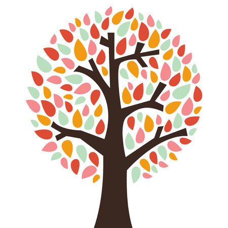 A chic vector illustration of a tree with colorful leaves. Ilustracja