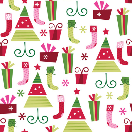 multi coloured: A vector illustration of a retro christmas theme seamless pattern background.