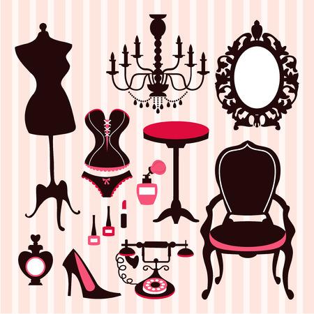 프랑스어 빈티지 내실 영감을 디자인 요소의 벡터 일러스트. 이 세트에 포함 : - 드레스 양식, 샹들리에, 화려한 거울, 프랑스어 의자 및 테이블, 코르셋 일러스트