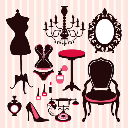 A vector illustration of french vintage boudoir inspired design elements. Include in this set:- dress form, chandelier, ornate mirror, french chair and table, corset, perfume bottles, old telephone, lip stick, nail polish and heels.