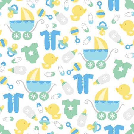 かわいいレトロな赤ちゃん男の子テーマのシームレスなパターン背景のベクトル イラスト。