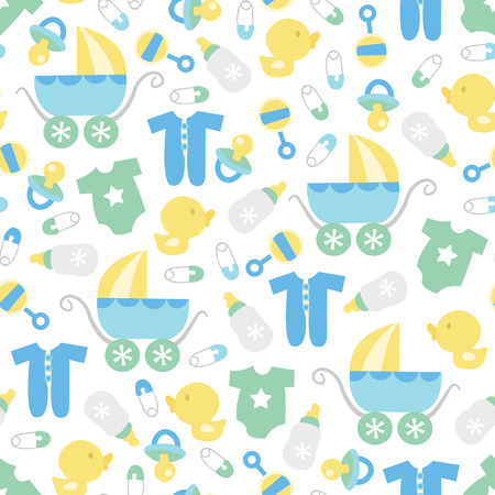 A vector illustration of a cute retro baby boy theme seamless pattern background.