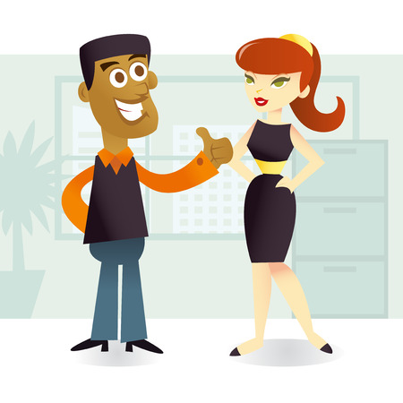 coworker: A cartoon vector illustration of an african american showing thumb up to his female co-worker in office setting. Illustration