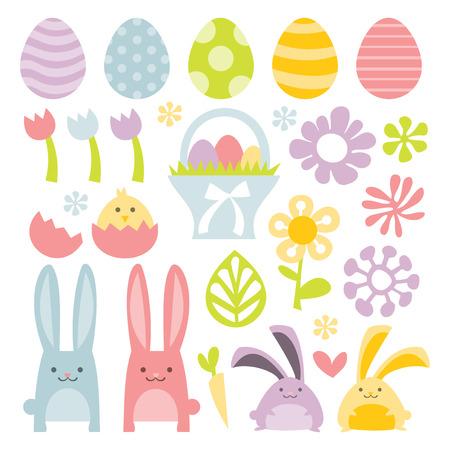 Een vector illustratie set van een gelukkig, lief en super leuk pasen  lente clip arts.