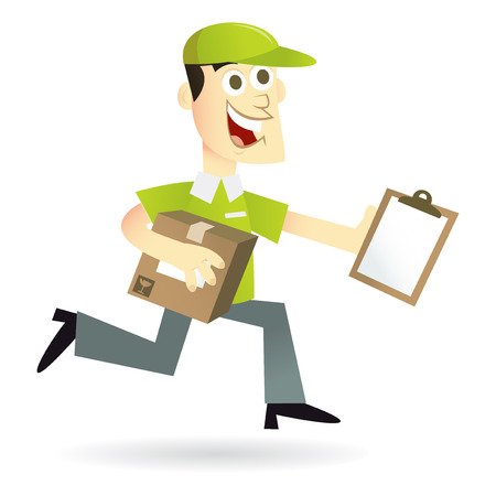 shipment parcel: A cartoon vector illustration of a happy delivery man running with a package and clipboard.