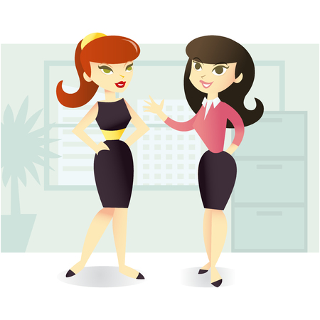 A cartoon vector illustration of two female office coworkers having a chat  in office setting. Çizim