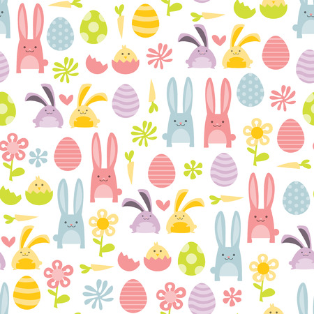 A vector illustration of happy sweet easter filled with easter bunnies and easter eggs seamless pattern background. Stock Illustratie