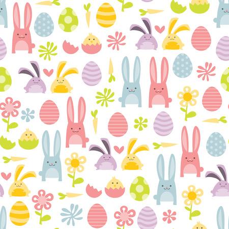 Une illustration de vecteur d'joyeuses pâques douce rempli de lapins de Pâques et oeufs de pâques seamless fond. Banque d'images - 39710730
