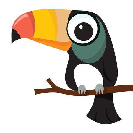rúdon ülés: A rajzfilm vektoros illusztráció egy kis aranyos tukán madár perching egy fa ága.
