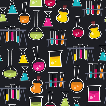 test pattern: A vector illustration seamless pattern background of fun and colorful glass beakers, lab beakers, laboratory beakers, science beakers and other lab equipment. Illustration