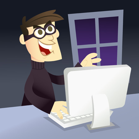 criminal activity: A vector illustration of a cartoon man that depicts computer identity theft. Illustration