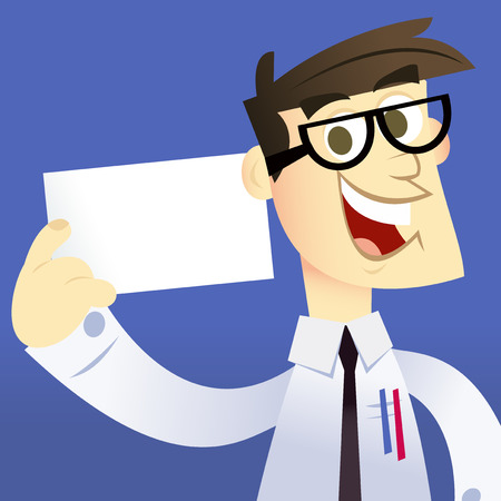 A cartoon vector illustration of a happy geek holding a blank cardbusiness card. Man and background are on separate layers. Vector