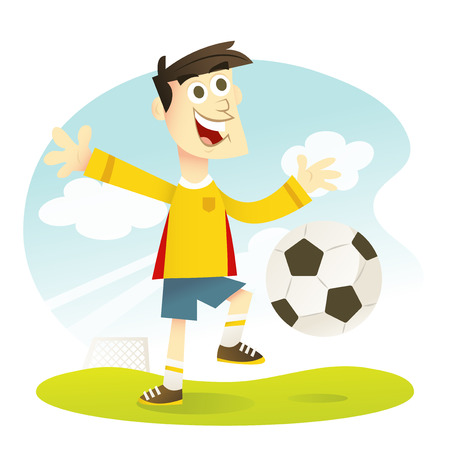 soccer sport: A cartoon vector illustration of a happy soccer player kicking a soccer ball.