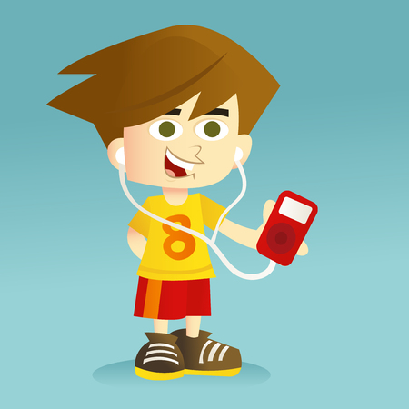 A cartoon vector illustration of a tween listening to his mp3 player. Illustration