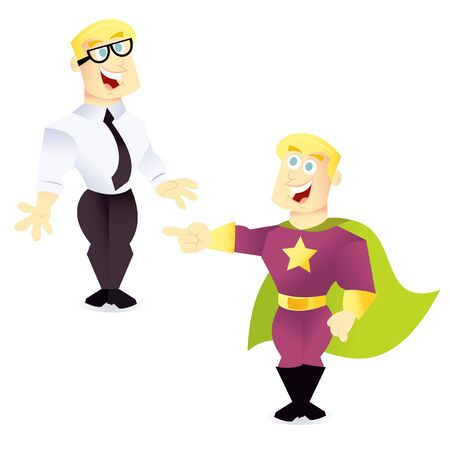 A cartoon vector illustration of a regular office guy and his superhero alter ego.