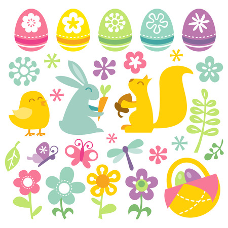 dragon fly: A vector illustration set of a happy, fun and super cute retro inspired easterspring clip arts. Illustration