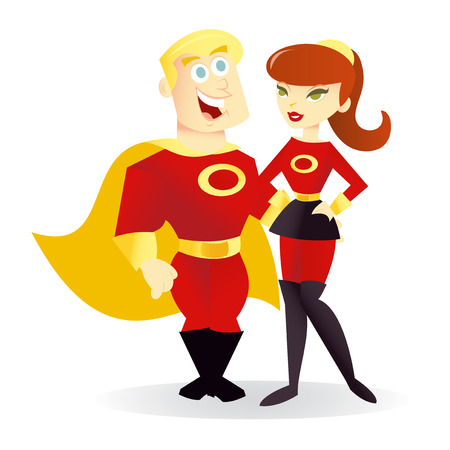 A cartoon vector illustration of a superhero power couple. Illustration