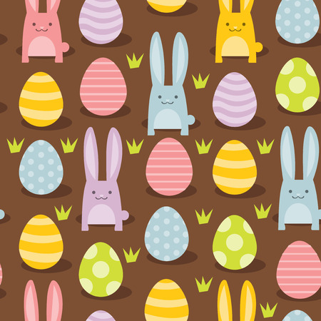 A vector illustration of super cute easter bunnies and easter eggs seamless pattern background. Vector