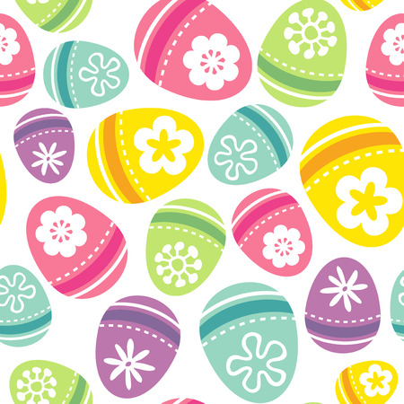 A vector illustration of a fun and retro easter eggs seamless pattern background. Vector