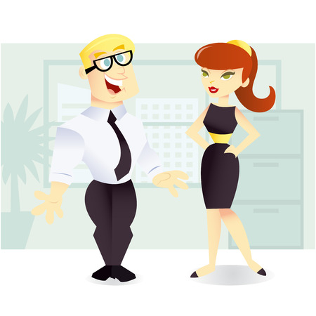 co workers: A vector illustration of two office workers having a chat  in office setting.