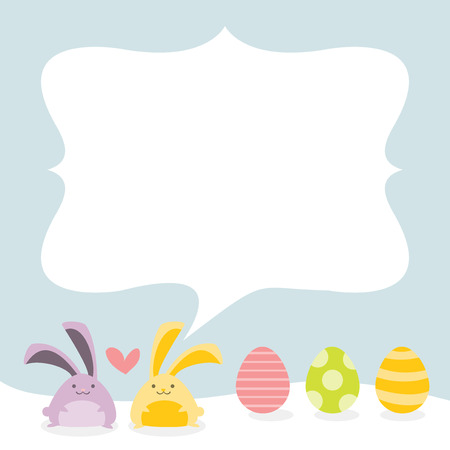 easter bunnies: A cute chic vector illustration of a two easter bunnies and easter eggs with a copy spaceblank message area.
