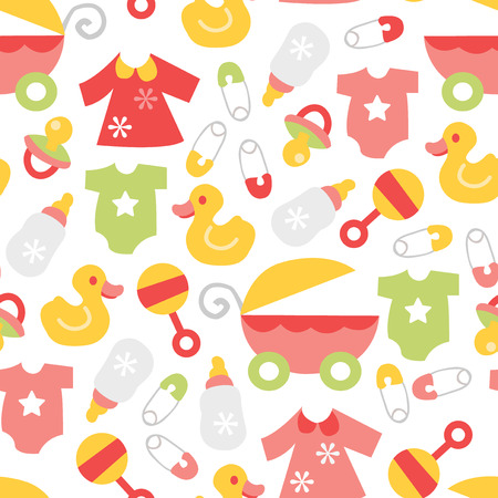A vector illustration of a cute retro baby girl theme seamless pattern background. Vector