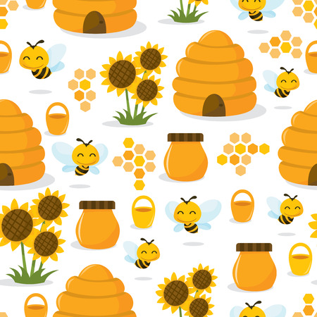 A vector illustration of a cute whimsical happy honey bee theme seamless pattern background. Illustration