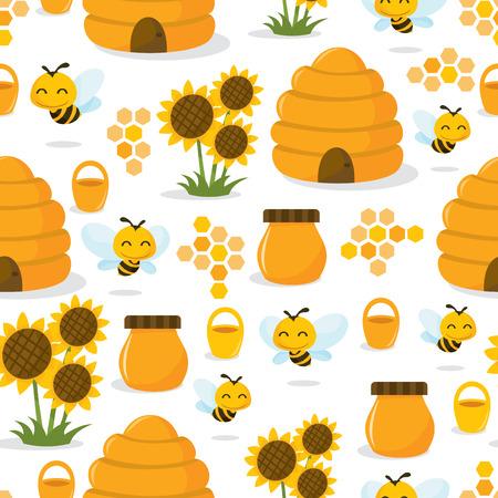 colmena: Una ilustración vectorial de una caprichosa miel abeja feliz tema de fondo sin fisuras patrón lindo.