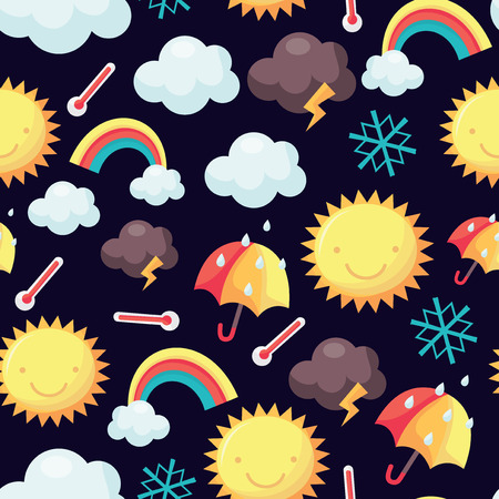 rainstorm: A vector illustration of a cute weather theme seamless pattern background.