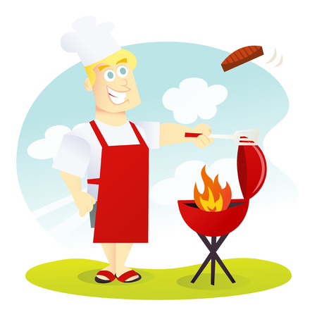 A cartoon vector illustration of a happy and smiling dad barbecuing some meat on a bbq grill.