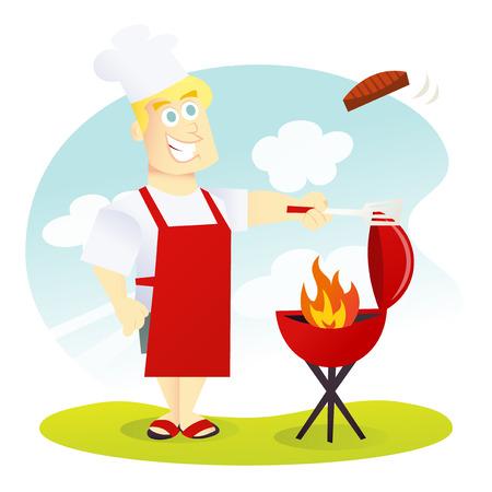 Ein Cartoon-Vektor-Illustration eines glücklich und lächelnd Papa Grillen etwas Fleisch auf einem Grill.