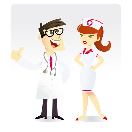 A cartoon vector illustration of a happy and smiling doctor and a nurse. Vector