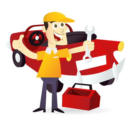 mechanic man: A cartoon vector illustration of a happy mechanic standing with a wrench and toolbox in front of a car.