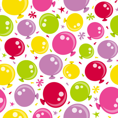 party time: A vector illustration of fun colorful and happy party time balloons seamless pattern background.