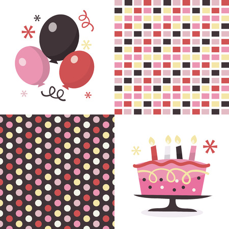 public celebratory event: A vector illustration of party time balloons, cakes and some matching patterns. Illustration