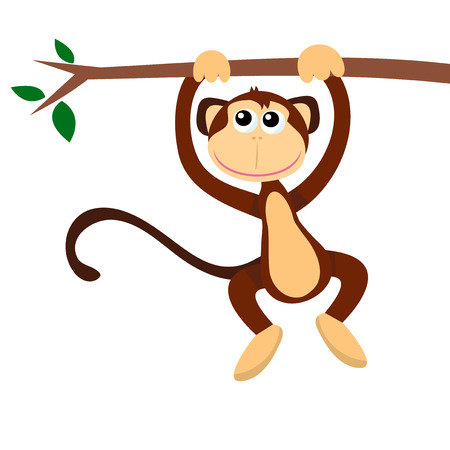 tree branch: A cartoon vector illustration of a happy monkey hanging on a tree branch.