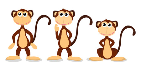 beckoning: A cartoon vector illustration of three monkey poses from standing to sitting.
