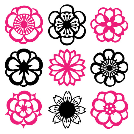 kirigami: A vector illustration of nine different flower filigree inspired by the japanese kirigami art.