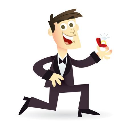 ajoelhado: Uma ilustração do vetor dos desenhos animados de um homem feliz ajoelhando-se em seu joelho com a proposta de um casamento com um anel de diamante.